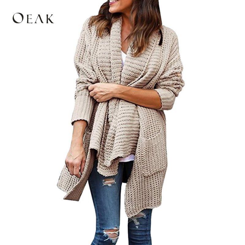 OEAK 2018 осень зима Для женщин мода нерегулярные нагрудные вязаный кардиган свитер женский Открыть стежка твердые двойные карманы кардиганы