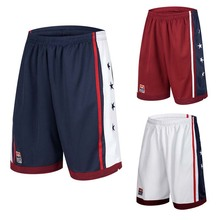 NEW 2019 Summer Outdoor USA Team Basketball Shorts Male Athletic Gym Sport Running Knee Length elastic loose Plus size M-3XL HOT