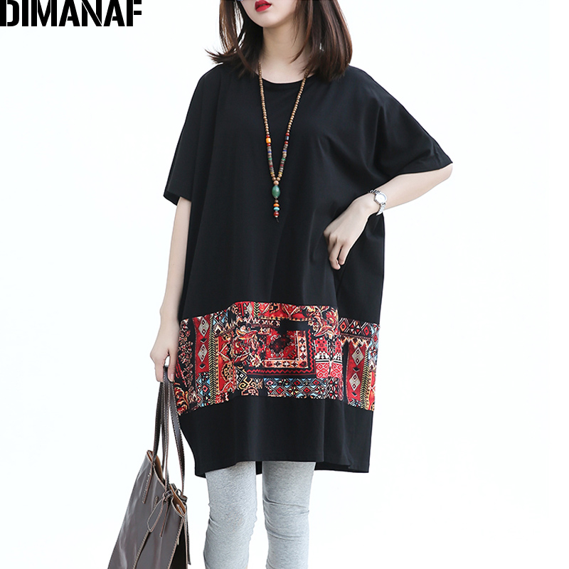 DIMANAF Summer Women Plus Size T-Shirt Cotton Pattern Print Black Patchwork Batwing Sleeve Female Casual Oversized Loose Tops creative vip pattern pet dog cotton t shirt black yellow size l