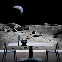 цены Free Shipping 3D Moon Space Mural, Custom Wallpaper, Living Room TV Wall Background Wallpaper