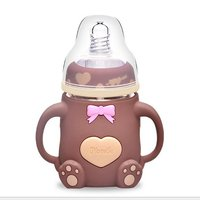 160ml Baby Feeding Bottles Explosion proof Infant Glass Milk Bottle Non toxic Feeding Kid Cup Straw Handle Cartoon Baby Supplies