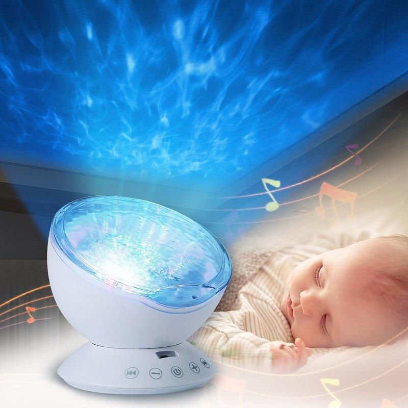 Bebé juguetes luminosos noche sueño luz estrella cielo océano ola música reproductor proyector lámpara bebé niños LED dormir apaciguar luces regalos