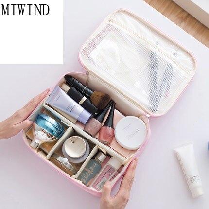 MIWIND Large Capacity Cosmetic Bag Woman Portable Storage Makeup Bags Canvas Beauty Organiser Handbag font b