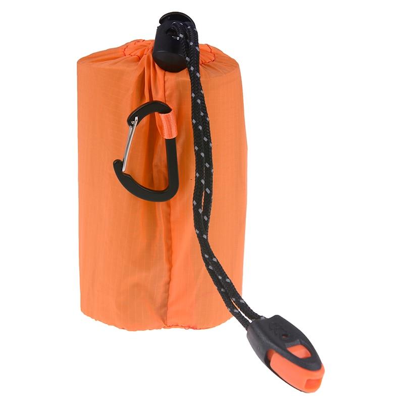 Reusable Emergency Sleeping Bag Waterproof Survival Camping Travel Bag /& Whistle