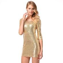 Women Sequin Party Dresses female clubwear Shiny Glitter Dress O Neck 3 4  Long Sleeve Slim Bandage Dress Mini Summer Dress 2018 6519dc08086b