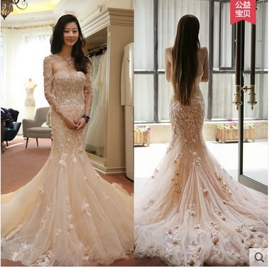 Cultivate One S Mity Strapless Fishtail Wedding Dress With Lace Flowers