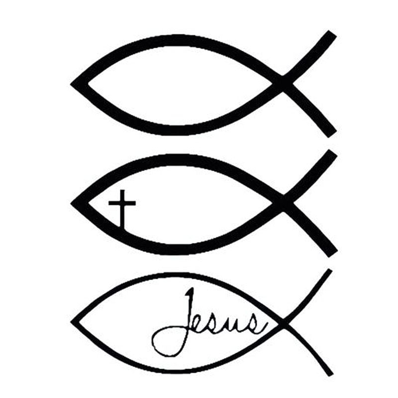 14*10CM JESUS FISH Car Stickers And Decals Fun Fish Cross Car Stickers Motorcycle Car Styling Black/Silver C1-0119