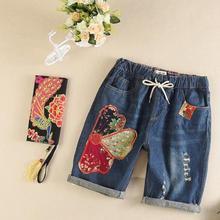 Цветы стежка вышивки Отверстия Шнурок талии Кенн-длина брюки Джинсы с мори девушка 2017