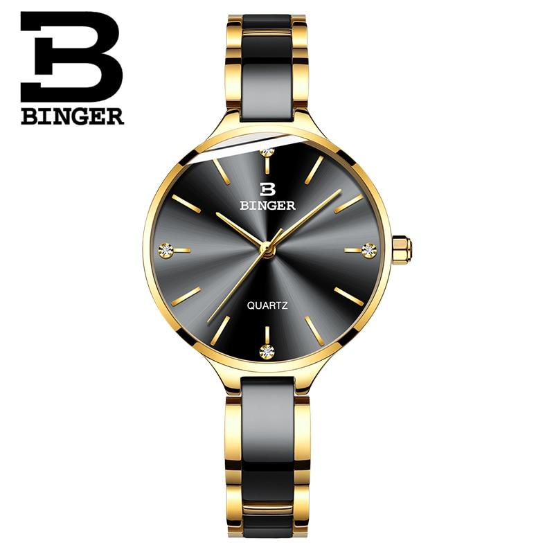 Schweiz BINGER Luxus Frauen Uhr Marke Kristall Mode Armband Uhren Damen Frauen handgelenk Uhren Relogio Feminino B 11852-in Damenuhren aus Uhren bei  Gruppe 2