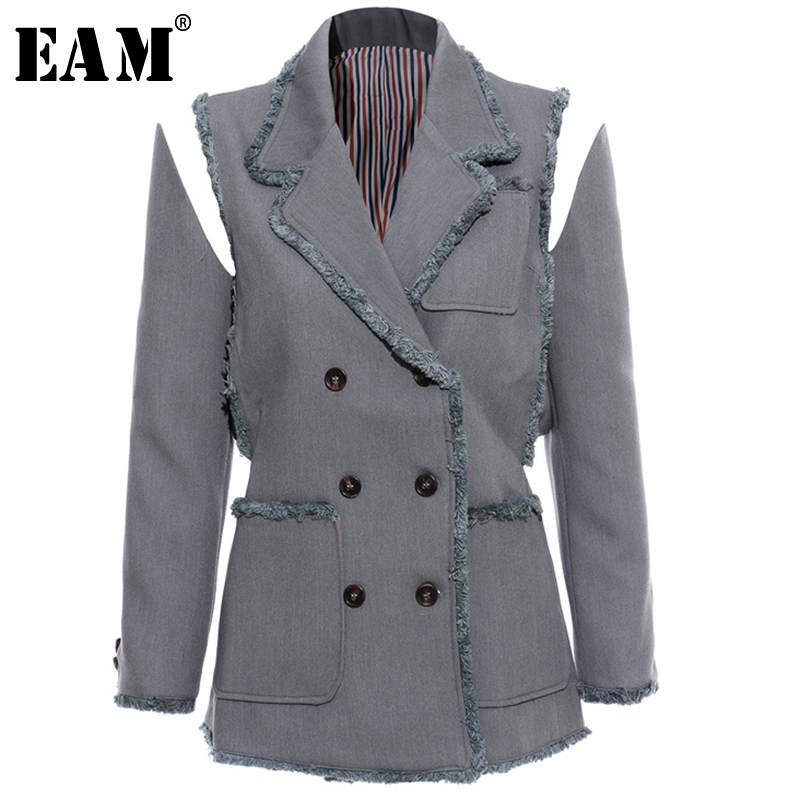[EAM] 2020 New Spring Autumn Turn Down Collar Long Sleeve Double Breasted Pockets Personality Jacket Women Coat Fashion JX643