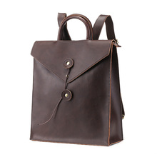 Men fashion leather backpack male travel Mail sack shape school mens business bag large laptop