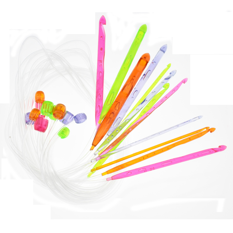 Random Transparent 120cm 12 PCs/Set Plastic Flexible Afghan Tunisian Carpet Crochet Hooks Needles Sewing Needles