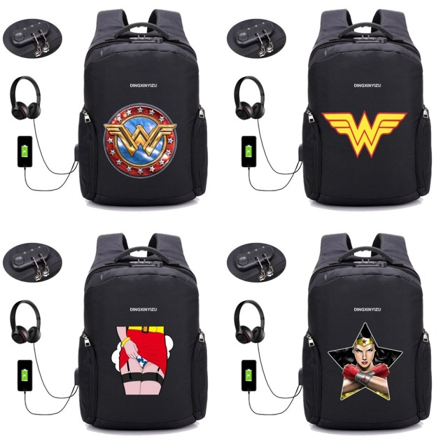 4a29196930 Comics Wonder Woman Backpack Anti Theft With Usb Charging Laptop Unisex  Knapsack Shoulder Waterproof Travel Bag