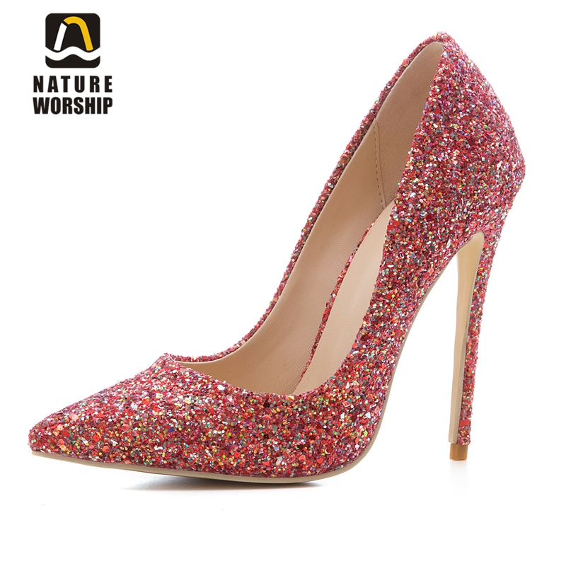 Sequined high heel stilettos wedding bridal pumps shoes womens pointed toe 12CM high heel slip-on sequins wedding shoes pumps sexy glitter women shoes metal heel sequined shoes pumps 8cm or 10cm or 12cm high heels pointed toe wedding bridal shoes