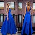 Nueva Llegada del Azul Real de Noche Largo Vestidos con Arco Sashes Palabra de Longitud Mujeres Árabe Vestidos de Fiesta Vestido de Noche Del Traje de Soiree