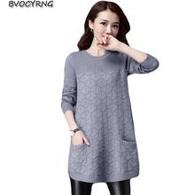 Luźne swetry dla kobiet 2019 wiosna jesień długa koszula swetry swetry zimowe Plus rozmiar 4XL dzianina damska odzież wierzchnia A1135 tanie tanio Kobiety REGULAR STANDARD O-neck Mieszkanie dzianiny Acetate blend Octan Poliester Wełna COTTON BVOCYRNG Pełna Kieszenie