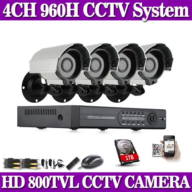 Sistema 4CH 960 H HDMI DVR 800TVL Impermeable Al Aire Libre Cámara 24 LEDs IR de la Seguridad Casera de Vigilancia de Vídeo Kit HDD 1 TB