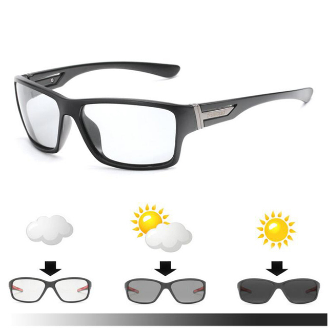 Men Polarized Cycling Sunglasses Photochromic Discoloration Sun Glasses Outdoors Sports Square Driving Accessories