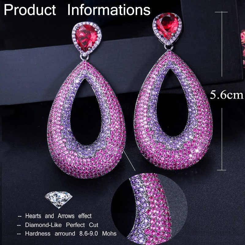 CWWZircons Chic สีชมพูร้อนสีม่วง Cubic Zirconia หินประดับหรูหรายาว Drop Party ต่างหูสำหรับผู้หญิง CZ459