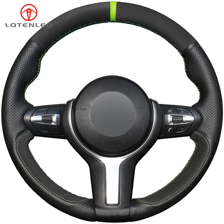 LQTENLEO Black Leather Suede DIY Car Steering Wheel Cover for BMW F87 M2 F80 M3 F82