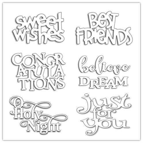 6 Types Letter Words Set Frame Metal Cutting Dies Stencils