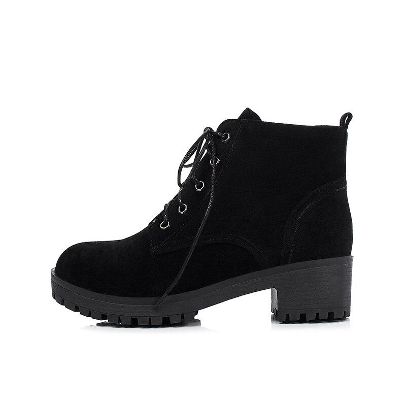 KARINLUNA 2017 Large Size 34-43 Square Heels Women Shoes Woman Bottine Leisure Martin Boots Black Platform Footwear