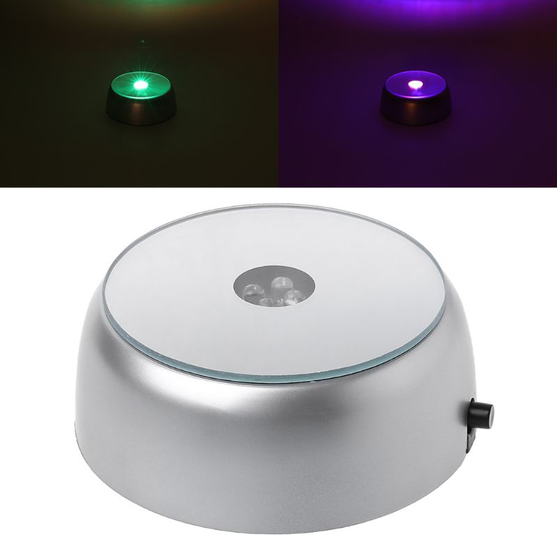 LED Light Cocktail Display Base Crystal Glass Laser Round Stand Home Bar Decor