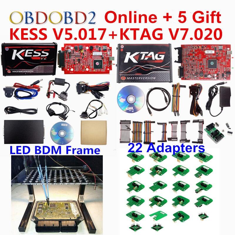 Полный набор-мастер KTAG 7,020 Kess V5.017 V2.47 Kess V2 OBD2 менеджер Тюнинг Комплект светодио дный BDM кадр 22 адаптеры ЭКЮ программист