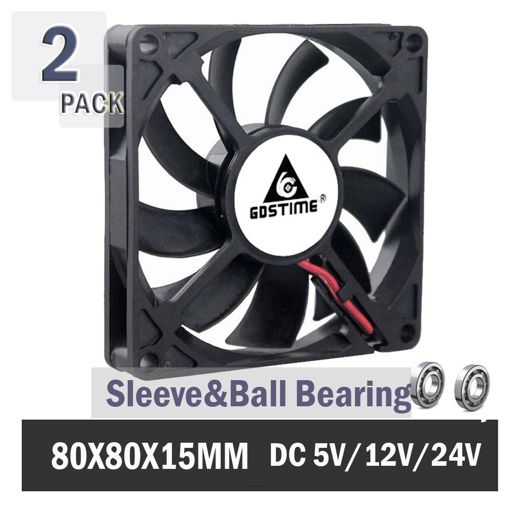 2PCS Gdstime Computer Case Fan 80*80*15mm 80mm 8cm Brushless 24V 12V 5V  8015 Ball/Sleeve Cooling Cooler Fan CPU PC Laptop Fan