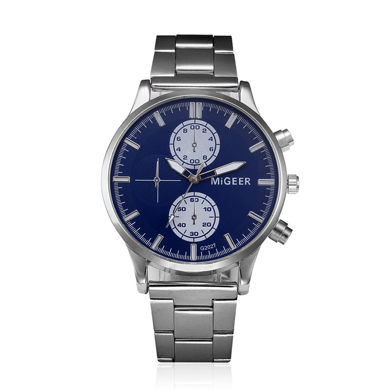 2017 Luxury Fashion Men Watch Crystal Stainless Steel Analog Quartz Wrist Watch Bracelet blue shope#3005