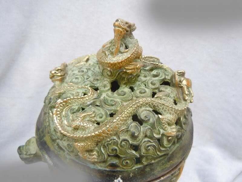 DS China Copper Bronze Gild Carved Dragon Incense Burner Sculpture Statue