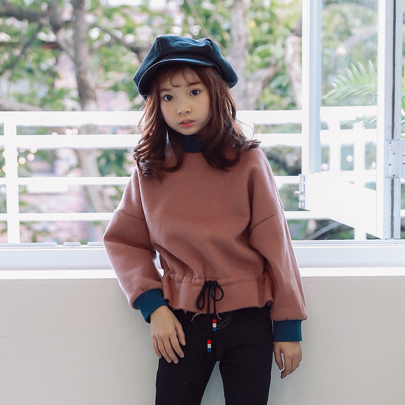 Velvet High Neck Autumn Winter Sweatshirt Kids Teenage Clothing Long Sleeve Tops Thick Hoodie Fashion Clothes Toddler Outwear color block graphic printed crew neck long sleeve sweatshirt