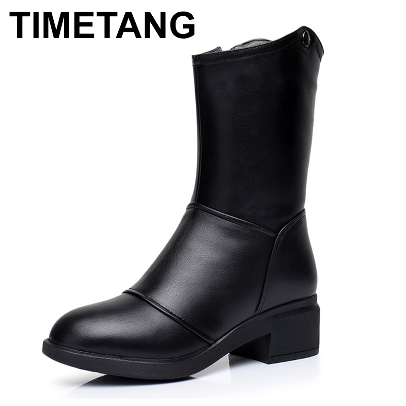 TIMETANG 2017 New Winter Mid Calf Boots Woman Shoes Genuine Leather Boots Round Toe Low Heels Boots High Quality Shoes стоимость