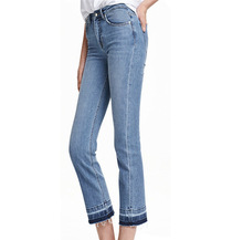 Women Vintage Light Washed Straight Bell Bottom Elegant Bootcut Flare Jeans Casual Tassel Pants