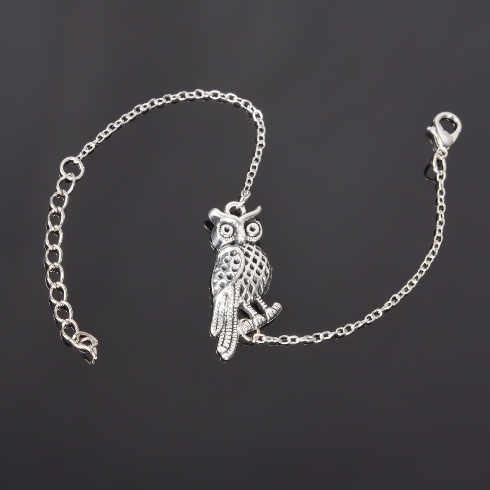 Simple Style Silver Plated Owl Charm Bracelet Jewe