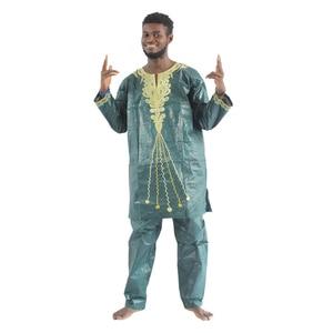 Image 1 - MD 2020 แอฟริกัน Bazin Riche Mens แอฟริกันแบบดั้งเดิมเสื้อผ้าเสื้อผ้าแขนยาวกางเกงชุด afrikanische herrenbekleidung PH47