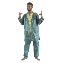 MD 2020 african bazin riche mens african traditional clothes long sleeve clothing pants suit afrikanische herrenbekleidung PH47