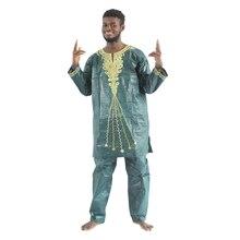 MD 2020 afrykańska tkanina bazinowa riche męskie afrykańskie tradycyjne ubrania z długim rękawem odzież spodnie garnitur afrikanische herrenbekleidung PH47