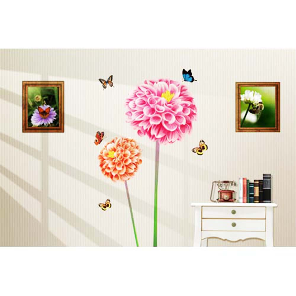 Beautiful Wall Decor Home : Pink big flower butterfly plant beautiful d wall stickers
