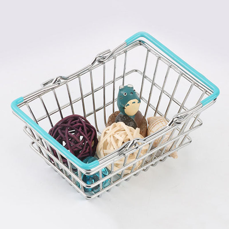 Portable Mini Supermarket Shopping  Basket organizer Shopping Basket Home Debris storage box makeup organizer kids toys-in Storage Baskets from Home & Garden