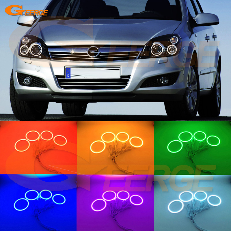 For Opel Astra H 2004-2010 Xenon headlight Excellent Angel Eyes Multi-Color Ultra bright RGB LED Angel Eyes kit Halo Rings super bright led angel eyes for bmw x5 2000 to 2006 color shift headlight halo angel demon eyes rings kit