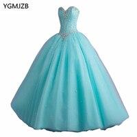 זול חם אור כחול ורוד Quinceanera מתוק 16 כדור כותנות חרוזים קריסטל שרוולים Vestidos דה 15 Anos נשף שמלה