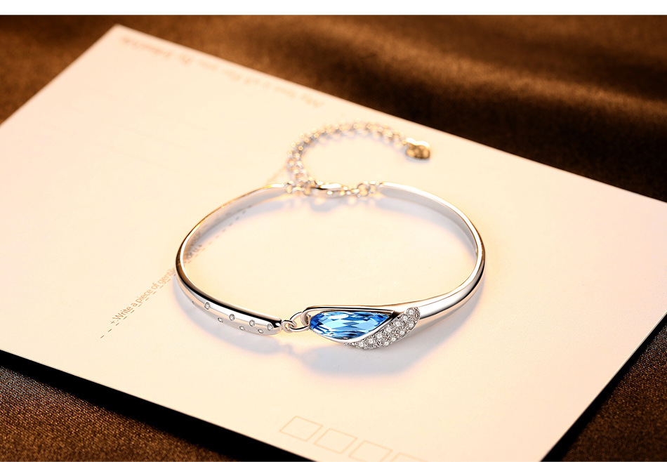 S925 sterling argent bracelet femelle de mode exquis cristal argent bracelet bracelet couple bijoux PD03