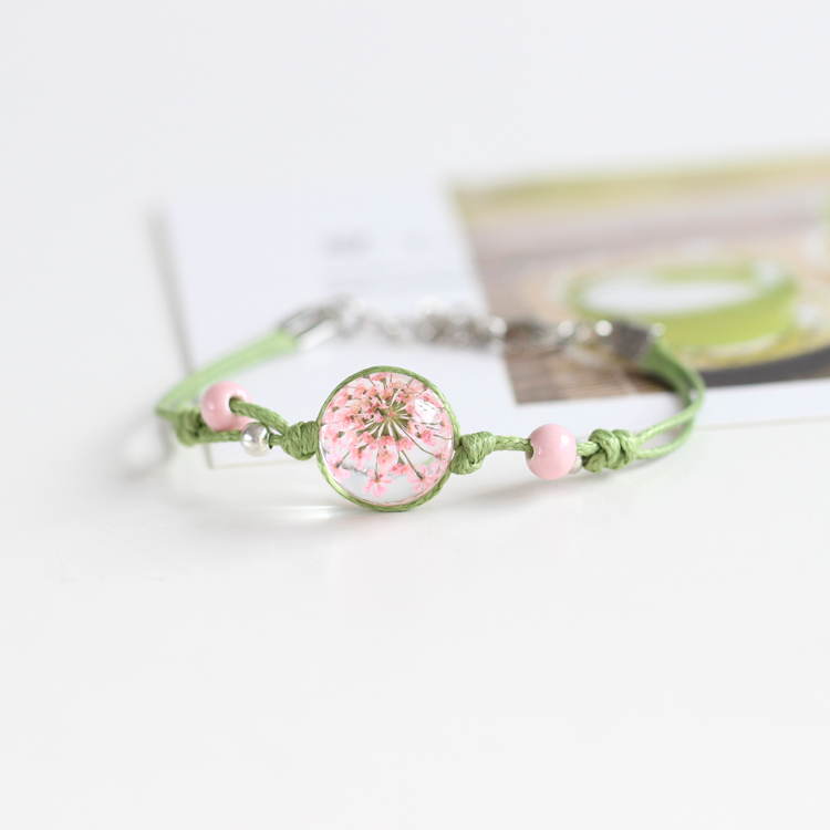 Summer Style 100% Handmade Accessories Fashion Glass Dried Flowers Charm Bracelet &Bangles Original Design Jewelry for Women