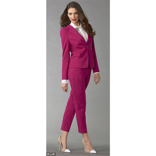 New Fuchsia Womens Business Suits Slim Fit Female Office Uniform Ladies Trouser Suits Formal Evening Tuxedo 2 Piece Blazer