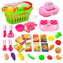 Kids Pretend Play Toys Simulated Supermarket Shopping Checkout Kitchen Hand Bask