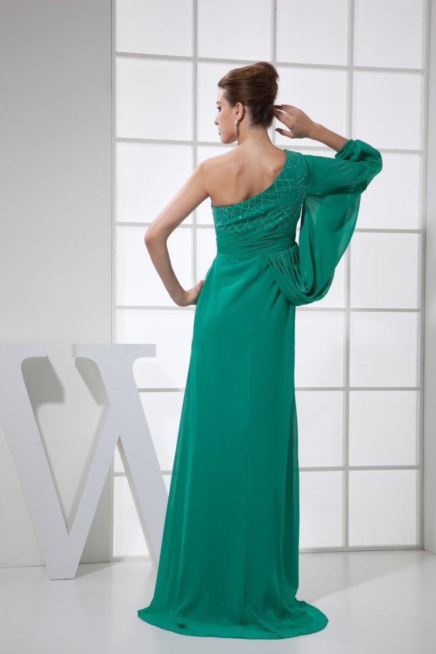 Сексуальное зеленое платье на одно плечо шифон длинный Выпускной 2019 Новое поступление халат de soiree вечерние платья - 4