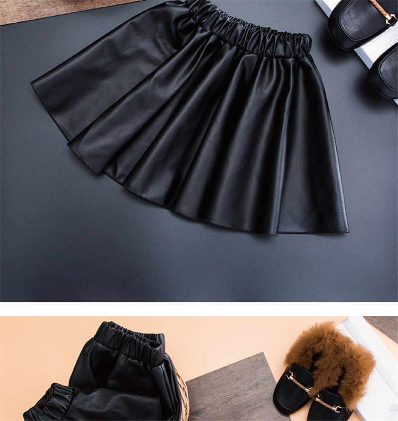 女の子のスカート新しい2018 puフェイクレザー弾性ウエスト赤ちゃん女の子チュチュスカート秋黒子供短いスカート子供布AA499