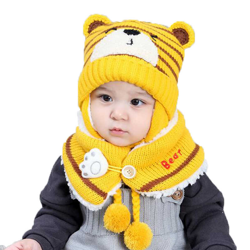 ... Unisex Child Beanies Cap Set Baby Kids Cartoon Design Stripe Knit Add  Velvet Hat and Scarf ... c36a54434310