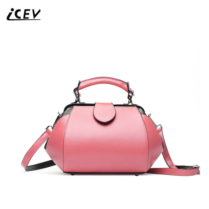 ICEV New Fashion Women Leather Handbags High Quality Genuine Leather Handbags Doctor Bags Handbags Women Famous Brands Bolsa Sac icev new fashion europe style genuine leather handbags alligator women leather handbags bags handbags women famous brands bolsa